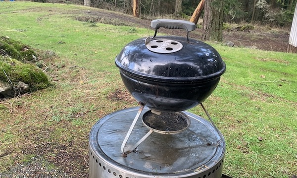 Smoky charcoal grill